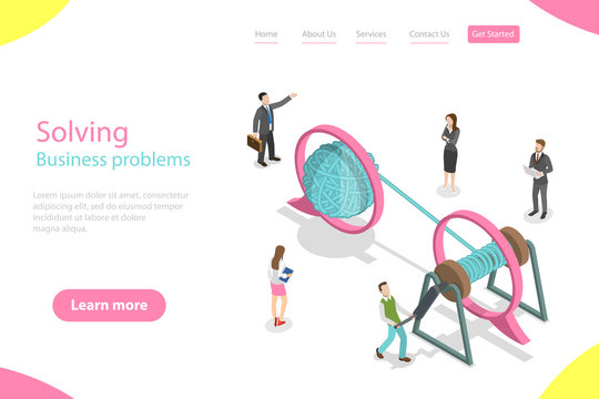Isometric flat vector landing page template of soloving business problem, simple solution, tangle tangled and unraveled.