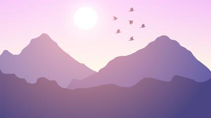 Printed kitchen splashbacks Purple sunset landscape background, sunset, sunrise, mountains, sky, sunset view illustration
