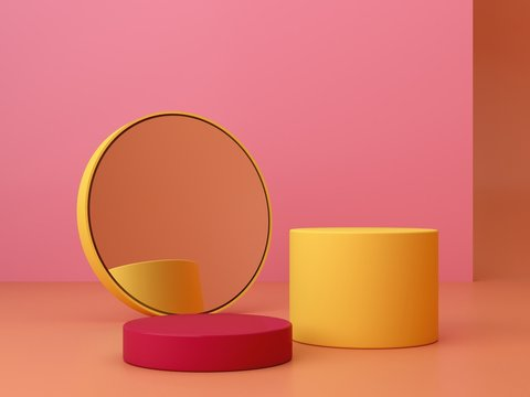Pink coral and yellow shapes on a coral abstract background. Minimal geometric podium. Scene with geometrical forms. Empty showcase for cosmetic product presentation. Fashion magazine. 3d render.