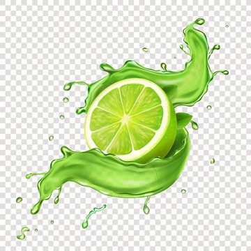 Llime in green juicy splash. Realistic splashing mojito icon