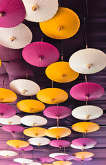 Colourful paper umbrella Decorate the place under the ceiling.
