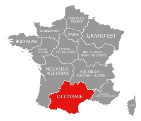 Occitanie red highlighted in map of France