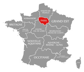 Paris red highlighted in map of France
