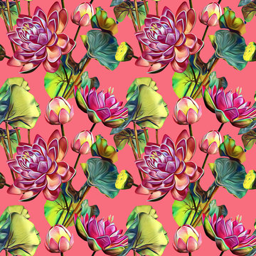 Waterlilies flower seamless pattern.