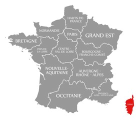 Corse red highlighted in map of France
