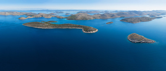 Aerial view of Kornati national park, Croatia