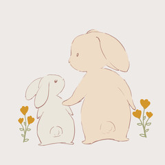 Cute rabbit and her baby