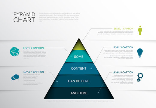 Vector Infographic five tier Pyramid chart diagram template