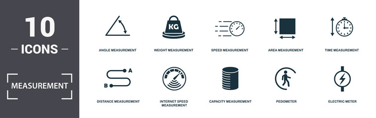 Measurement icons set collection. Includes simple elements such as Angle Measurement, Weight Measurement, Speed Measurement, Area Measurement, Time Measurement, Internet Speed Measurement and Capacity
