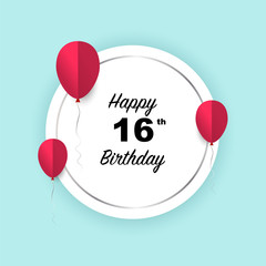 Happy 16th birthday, vector illustration greeting silver round banner card with red papercut balloons