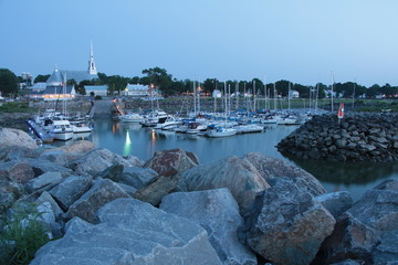 Port and marina and the yatchs of a little town by the St-Lawrence river. St-Michel-de-Bellechasse, Quebec, Canda