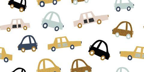 Printed kitchen splashbacks Cartoon cars Kids handdrawn seamless pattern with colorful cars