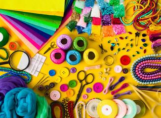 Diy craft supplies top view, frame for design Fotomurales