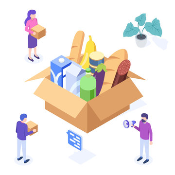 Food donation concept. Big box with food donation. Web banner, infographics. Isometric vector illustration.