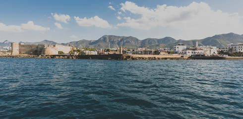 Panoramic view of Kyrenia ( Girne) old harbor, Northern Cyprus