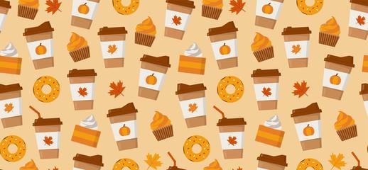 Pumpkin spice latte season. Coffee mugs, donuts, pumpkin pie slices and autumn leaves. Flat vector seamless pattern.