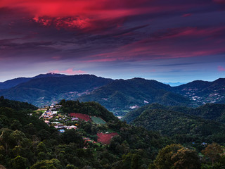 view of mountain landscape with colorful sky in northern thailand