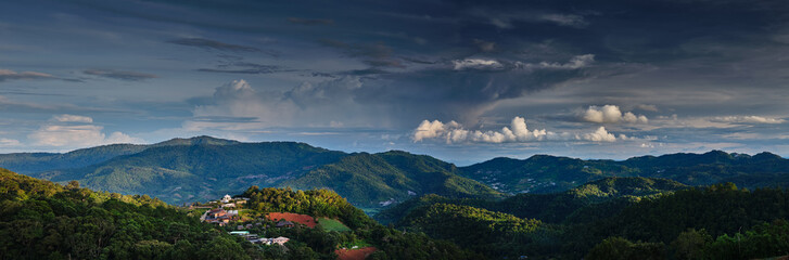 scenic view of mountains in northern thailand