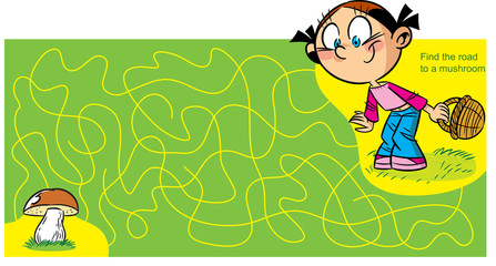 A puzzle where it is necessary to help a girl reach the fungus by a maze.