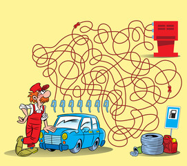 Puzzle the labyrinth where it is necessary to solve what hose can be filled the car.