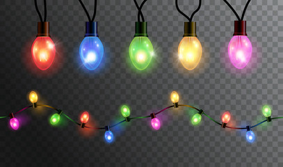Vector realistic glowing colorful christmas lights in seamless pattern and individual hanging light bulbs isolated on dark background