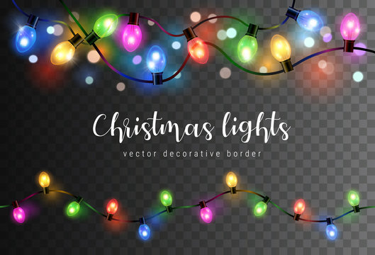 Vector set of realistic glowing colorful christmas lights in seamless pattern isolated on dark background