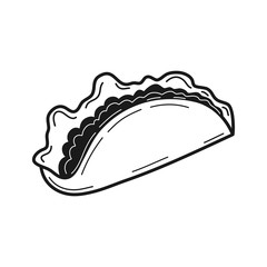 Hand drawn taco isolated on a white. Great for menu, poster or label. Vector illustration.