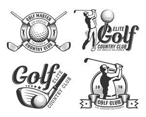Golf emblem with golfer, club and ball in retro vintage style.