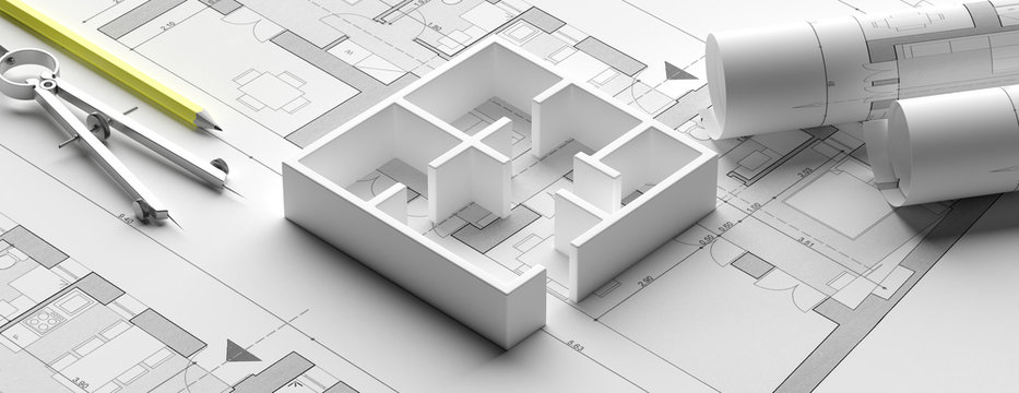 Residential building blueprint plans and house model, banner. 3d illustration