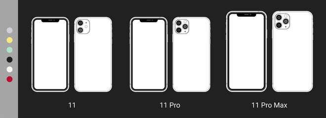 New Iphone 11 Pro Max flat graphic illustration.