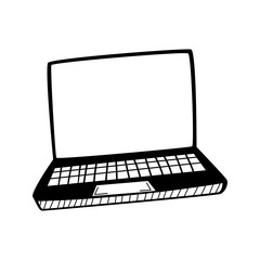 Hand drawn Laptop isolated on a white. Sketch. Vector illustration.