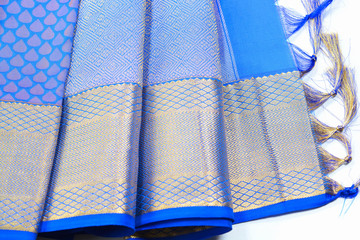 Indian blue silk sari with silver border