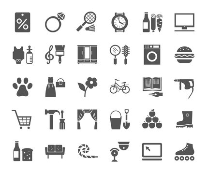 Shops, monochrome flat icons, vector.  Different categories of stores. Gray icons on a white field.