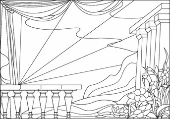 illustration, baby pictures for coloring - landscape with flowers and columns against the sky,  mountains and butterfly
