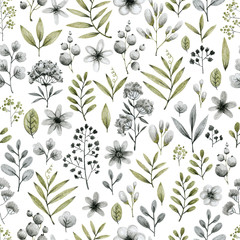 green and gray leaves branches and flowers, freehand drawing in pencil illustration, frame template for design of wedding invitations, background - fototapety na wymiar