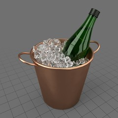 Vermouth bottle in ice bucket