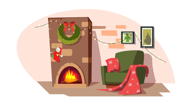 Christmas fireplace flat vector illustration