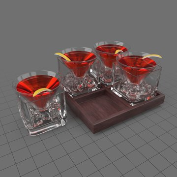 Cocktails on tray