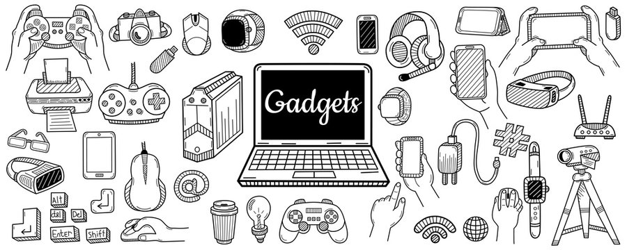 Big collection of gadgets elements. Technology concept. Hand drawn sketch. Vintage vector engraving illustration for poster, web.