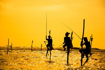 Traditional stilt fisherman in Sri Lanka Wall mural