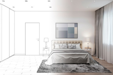 3d illustration. Sketch of the bedroom interior became a real interior. Front view