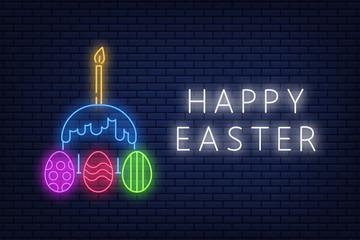 Happy Easter neon sign, banner image lettering on dark brick wall background. Vector illustration EPS 10.