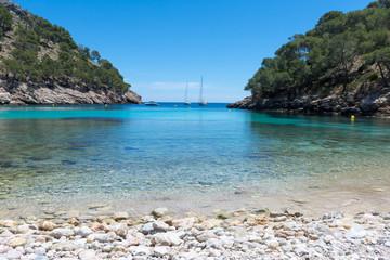 beach in the Bay of Cala Murta on the island of Mallorca