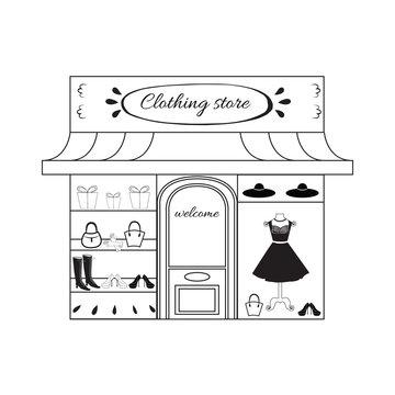 Black boutique icon logo symbol Store sketch Fashion print