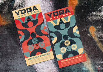 Yoga Event Flyer Layout with Geometric Elements