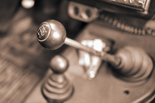 Gear shifter of a vintage car, close up..