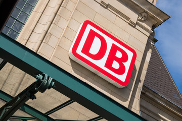 KOBLENZ, GERMANY - September 4, 2016: DB Logo at Koblenz Hauptbahnhof (main station). Deutsche Bahn AG is the largest railway operator and infrastructure owner in Europe.