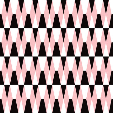 Bold geometric seamless tiled pattern in black, pink and white. Retro styled mod look  that is eye catching for packaging, backgrounds, fashion, textiles, paper items and decor accents. Vector.