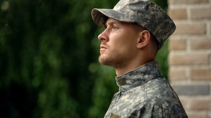 Army soldier facing reality of duty, struggling with mental issues, depression