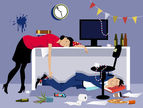 After a corporate event of party drunk business people sleeping in a messy office, EPS 8 vector illustration